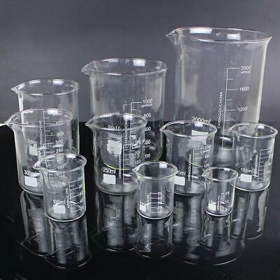 5pcsset Borosilicate Glass Beaker Chemistry Experiment Labware School Equipment