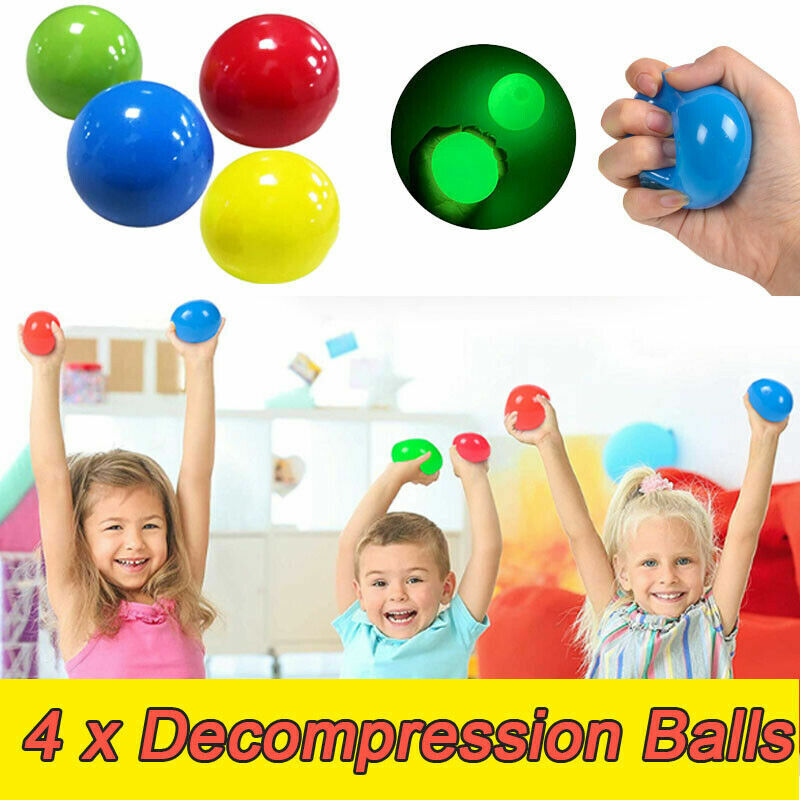 4Pcs Sticky Wall Balls for Ceiling Sticky Target Ball DecompressionToy Kid
