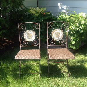 REDUCED - Beautiful ceramic and steel chairs