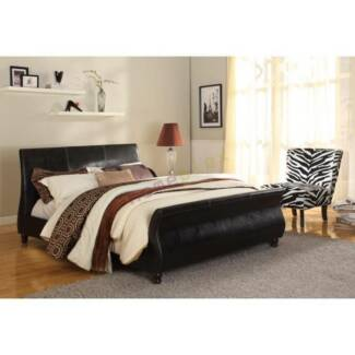 CLEARANCE SALE Upholstered Black PU Leather Bed Frame BONDI
