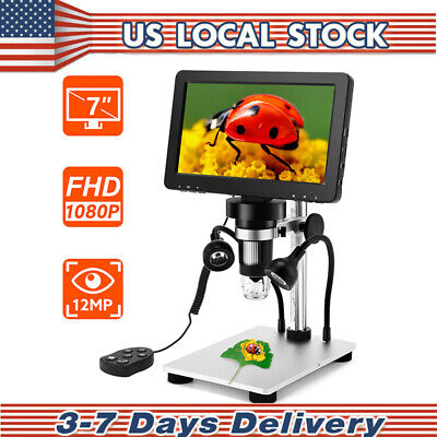 Handheld 7 1080p Digital Microscope 12mp Camera Amplification W Wired Remote