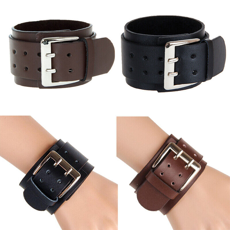 Cool Women/Men's Wide Double-layer Adjustable Leather Bracelet Punk Cuff US SHIP Bracelets