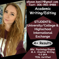 Essays//Proof-Reading. Academic Writer & Editor ~ 4.0 GPA