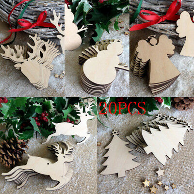 10 Xmas Craft Wood Ornament Festival Christmas Tree Hanging Decorations Pendant ()