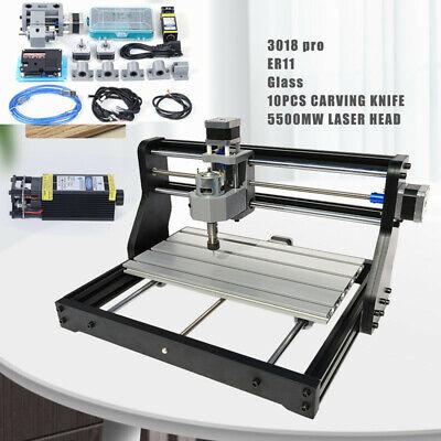 3 Axis Cnc 3018 Pro Router Kit Engraving Metal Wood Milling Machine5500mw Laser