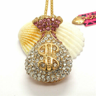 Hot Betsey Johnson Pink crystal Dollar money bag Sweater Chain Necklace Gift