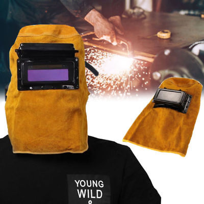 Solar Auto Darkening Welding Helmet Mask Grinding Welder Shield Leather Hood Us