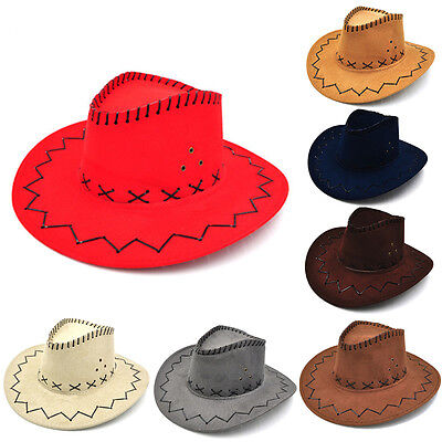 Cowboyhut Wildleder Look Wild West Kostüm Herren Lady Cowgirl Unisex Cap vbu  - Wild West Cowgirl Kostüm
