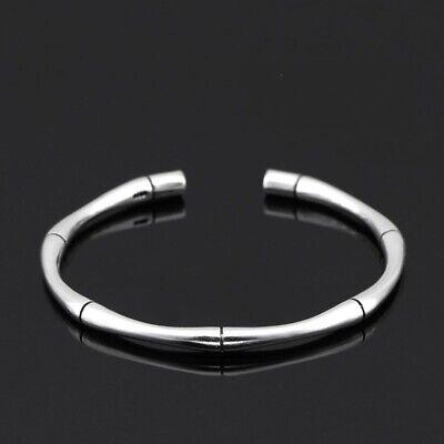 ZARD Bamboo Shaped Open Cuff Bangle Sterling Silver Minimalist Simple Bracelet Bamboo Silver Bracelet Bangle