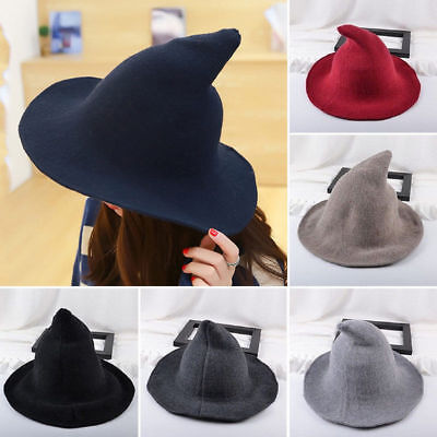 US STOCK Wool Halloween Witch Hat Modern Witch Hat Made From High Quality Sheep - Halloween Mod