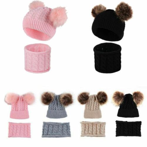 Baby Girl Boy Knitted Bobble Hat Double Pom Pom Warm Crochet Stretchy Hat Scarf