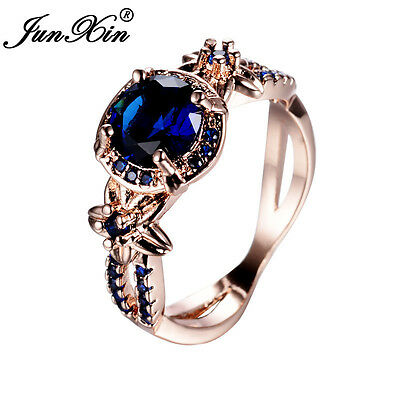 (Vintage Round Blue Sapphire Flower Wedding Band Ring Rose Gold Jewelry Size 5-11)
