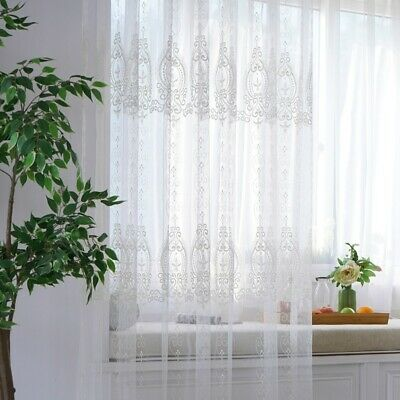 Baroque Embroidery Curtains Fabric Pelmets Lace Tulle Voile Panel Adorn Divider for sale  Shipping to Canada