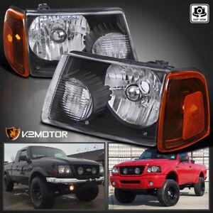 2001-2011 Ford Ranger Black Headlights+Corner Signal Lamps Lights Left+Right 4PC