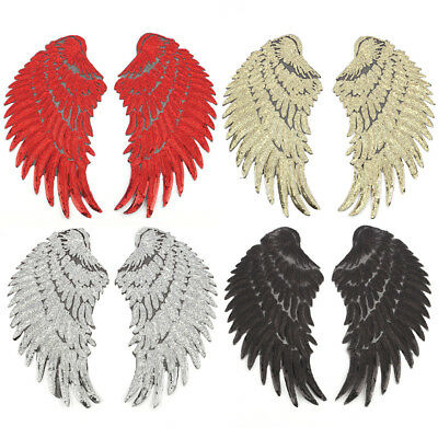 1Pair Big Silver Gold Sequins Feather Wings Patches Applique Embroidered (Embroidered Wings)