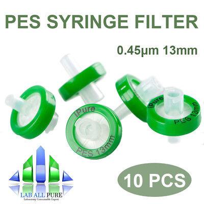 10pcspack Pes Syringe Filter 0.45um 13mm Diameter Hydrophilic W Pp Prefilter
