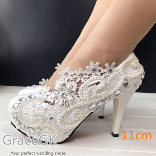 "Lace white ivory pearls Wedding shoes Bridal Bridesmaid 3"" 4"" high heel pump"