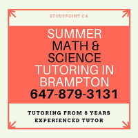 SUMMER MATH & SCIENCE TUTORING IN BRAMPTON