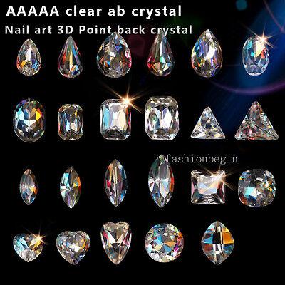 Clear AB pointback foiled crystal Shape Rhinestone Nail Art Decoration Manicure