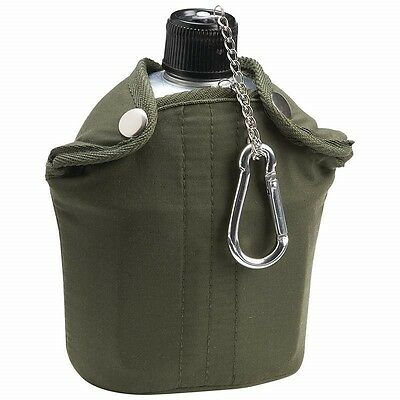 Olive Green 32oz Aluminum CANTEEN Cover Cup Clip Hunting Camping Survival Gear
