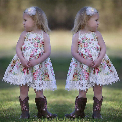 US Stock Toddler Kids Baby Girl Lace Floral Cotton Princess Party Dress Sundress