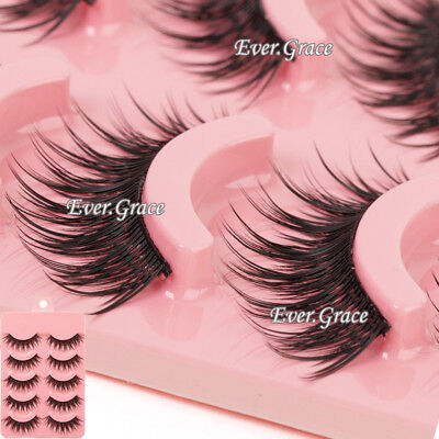 9725eb8c31f Makeup 5 Pairs Natural Long Fake Eye Lashes Handmade Thick False Eyelashes  Black