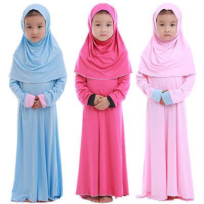 Muslim Girls Kids Long Sleeve Abaya Dress Islamic Hijab Kaftan Maxi Robe 4Color - Pageant Robes