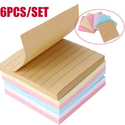 6x 65 Pages Sticky Note Notebook Memo Pad Bookmark Sticker Notepad Paper Remove