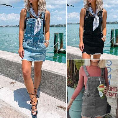Casual Women Sexy Denim Overall Dress Slim Bib Suspender Jum