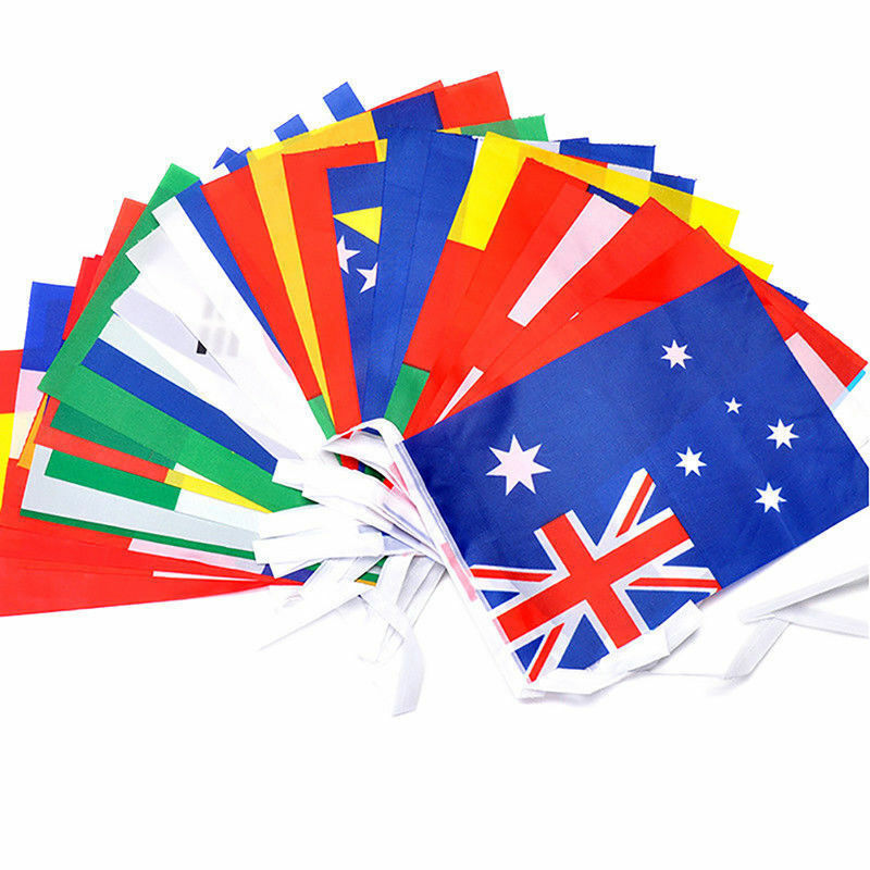 Premium Quality 33ft National Fabric Flags of The World Party Bunting