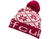 French Connection Mens FCUK Bobble Hat Red