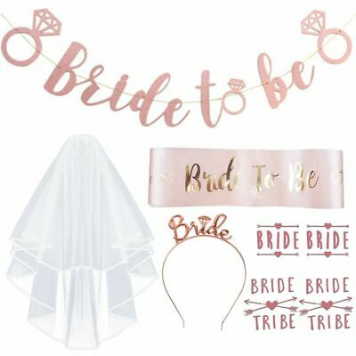 Bride To Be Banner (8Pcs/Set Bachelorette Party Decorations Rose Gold Kit Bride to Be Sash)