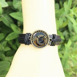 Steampunk clock Fantastic Bangle 20 mm Glass Cabochon Leather  Charm Bracelet