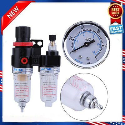 14 Oil Water Lubricator Trap Air Compressor Filter Regulator Gauge 140psi