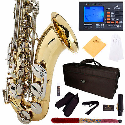 MENDINI GOLD LACQUERED NICKEL KEYS TENOR SAXOPHONE SAX W/ TUNER, CASE, CAREKIT on Rummage