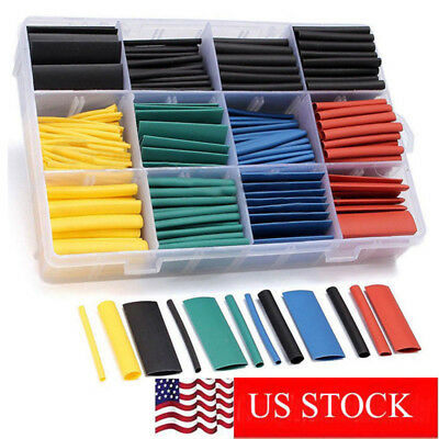 530 Pcs 21 Heat Shrink Tubing Tube Sleeving Wrap Cable Wire 5 Color 8 Size Us