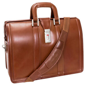 "McKlein Brown Leather 17"" Morgan Laptop Litigator Briefcase"