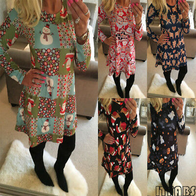 Lot Xmas Women's Dress Reindeer Elk Snowman Christmas Tree Printed Party Skirt