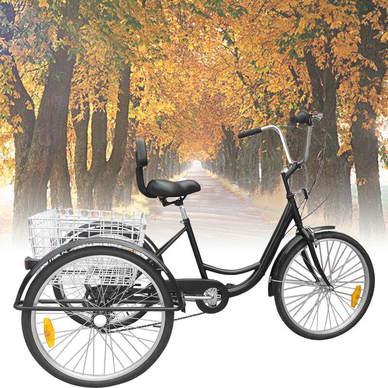 "24"" Adult Tricycle 3-Wheel 6 Speed Bicycle Trike Backrest Cr"