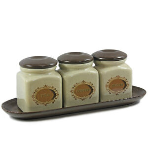 ceramic storage jars for kitchen set of 3 tea sugar coffee ceramic kitchen storage 8096