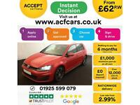 2016 RED VW GOLF 2.0 TDI 184 GTD DIESEL MANUAL 5DR HATCH CAR FINANCE FR £62 PW
