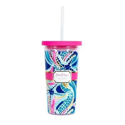 Lilly Pulitzer Tumbler with Straw in Ocean Jewels 20 oz NEW Reusable  ()