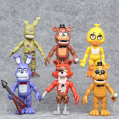 6 Pcs Fnaf Five Nights At Freddys 4  Action Figures With Light Toy Gift For Kid