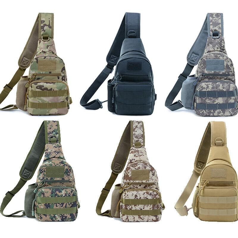 Men Molle Tactical Sling Chest Bag Assault Pack Messenger Shoulder Bag Backpack Bags