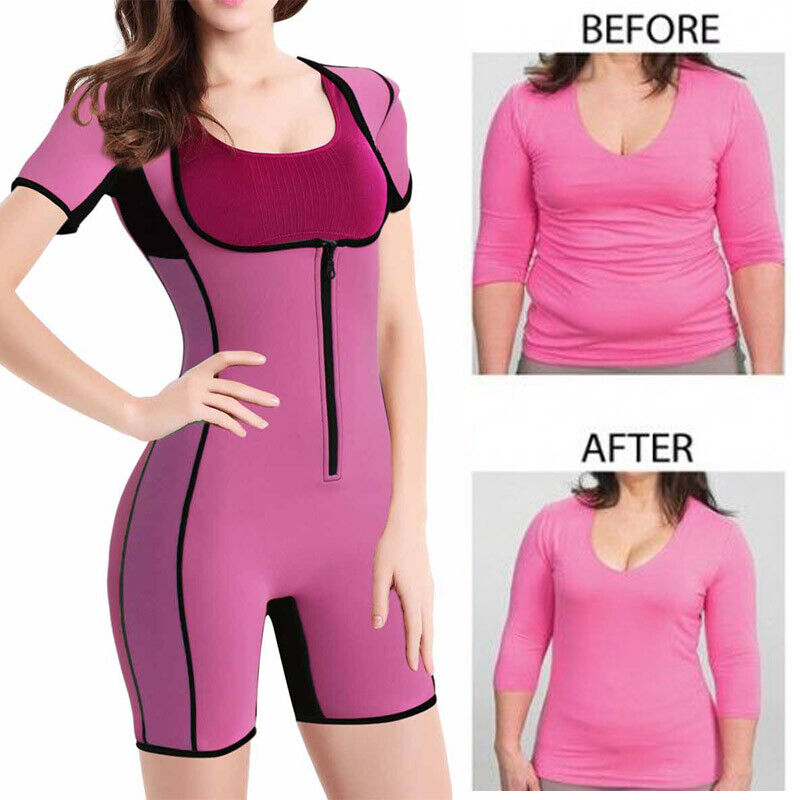 Sauna Suit Weight loss Hot Neoprene Waist Trainer Sweat Body Spa With Sleeves US