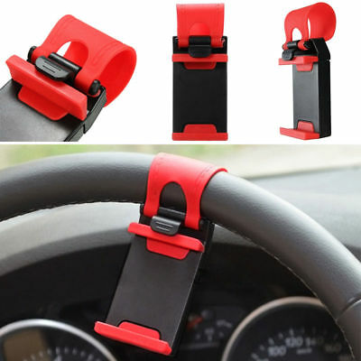 RED Universal Car Steering Wheel Clip Mount Holder Cradle Stand For Cell Phone - $0.01