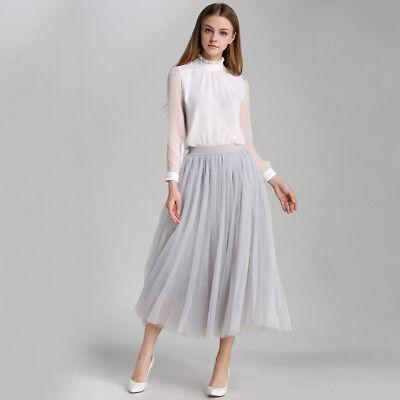 Women 3 Layers Tutu Skirt Fancy Dress Fairy Party Princess Gauze Tulle Ballet -