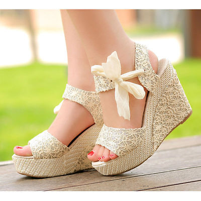 Fashion Women Wedge High Platform Sandals Summer Bowknot Ankle Lace Strap Shoes