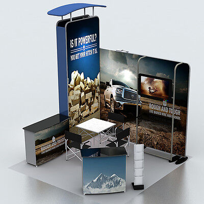 10ft Portable Trade Show Display Booth Set Pop Up Stand With Tv Bracket Podium