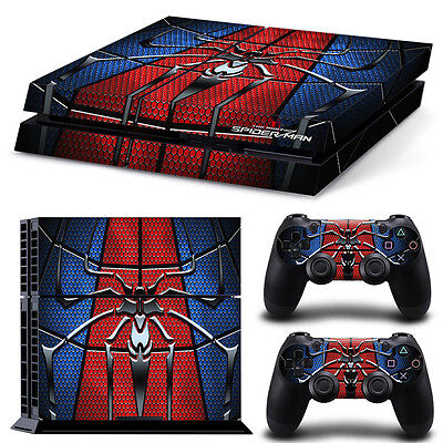 PS4 Playstation 4 Console Skin Decal Sticker SpiderMan Hero Custom Design Set